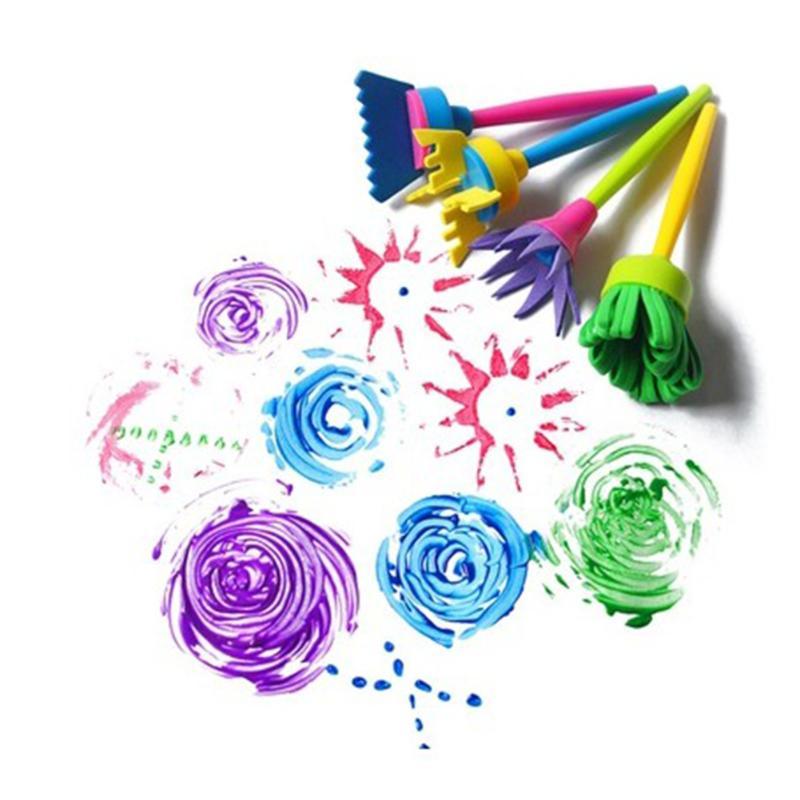 4pcs/set Plastic Flower Paint Brush Rotate Spin Sponge Paint Drawing Brush Graffiti Art Drawing Painting Toy For Kids Children