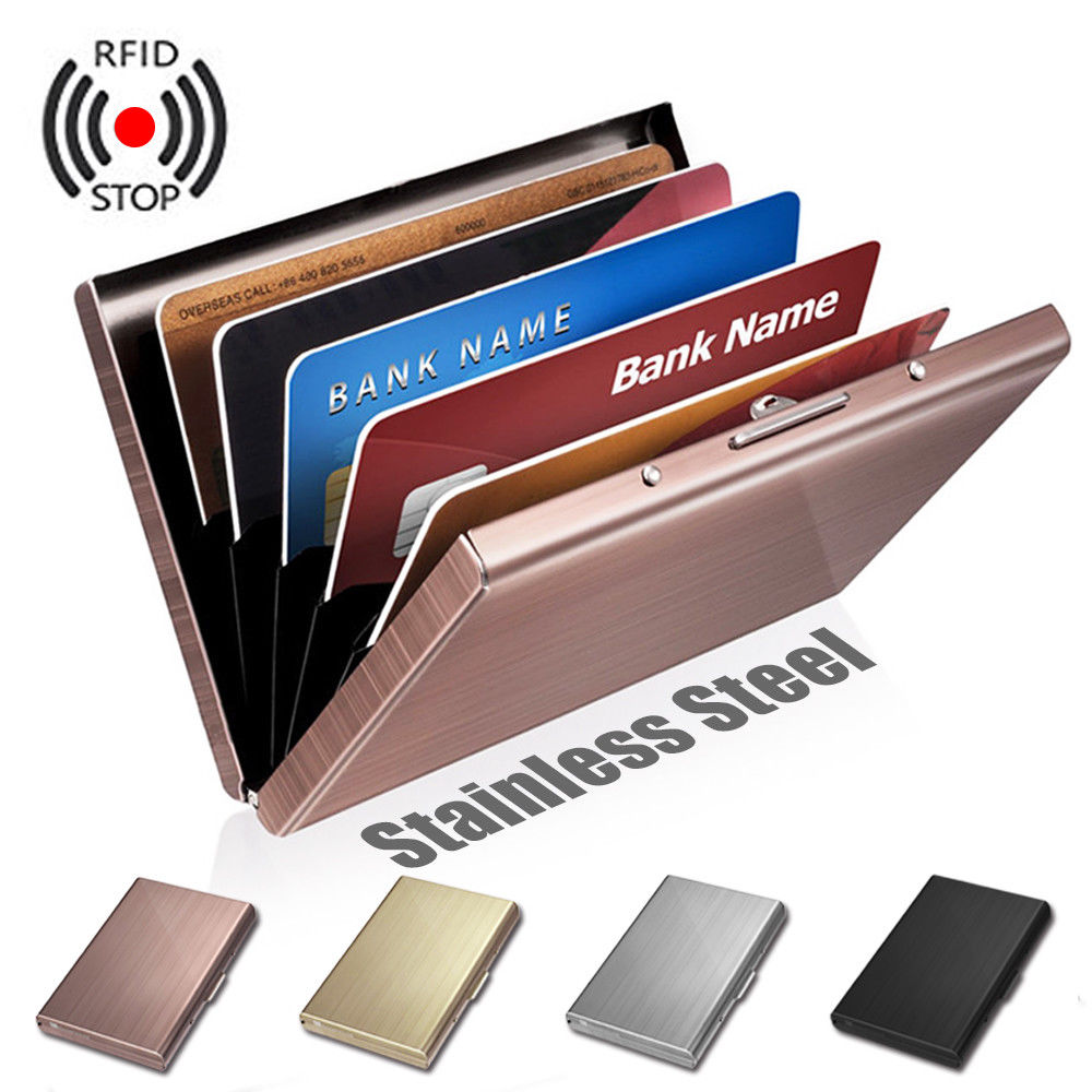 1 Piece Slot Stainless Steel Wallet RFID Blocking ID Protection Card Holder