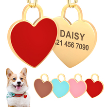 Heart Shape Dog ID Tag Personalized Dogs Cats Nameplate Tags Anti-lost Name Plate Free Engraving Dog Accessories Pink