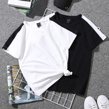 Летние новые белые черные женские футболки в Корейском стиле, одноцветные простые женские футболки с надписью, топы, одежда для пар, повседневная женская футболка с круглым вырезом