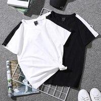 Женские летние футболки, базовые черно-белые футболки для пары, с круглым вырезом, однотонные, с буквенным принтом, повседневные футболки
