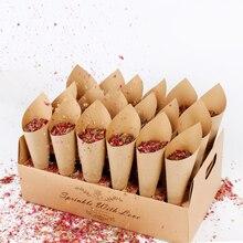 Fengrise коническая рамка из крафт-бумаги с конфетти, свадебное украшение в деревенском стиле, свадебное украшение для свадьбы, украшение для дня рождения