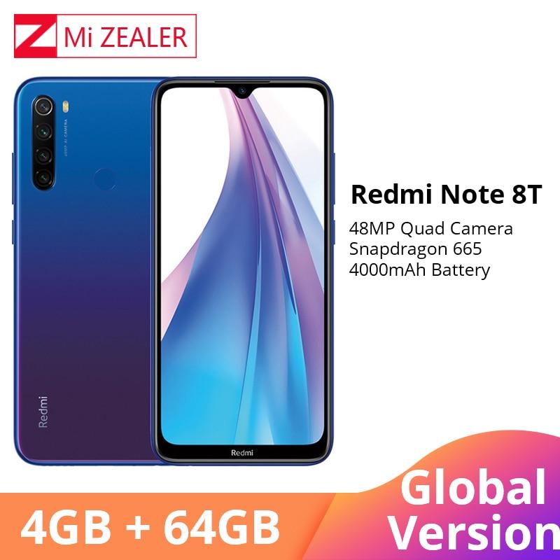 "Global Version Xiaomi Redmi Note 8T 4GB RAM 64GB ROM Octa Core Smartphone Snapdragon 665 48MP 6.3"" Screen Cellphone"