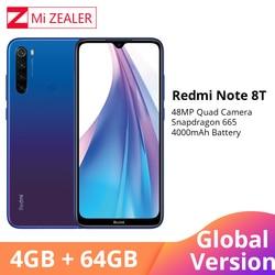 Versão global xiaomi redmi nota 8 t 4 gb ram 64 gb rom núcleo octa smartphone snapdragon 665 48mp 6.3