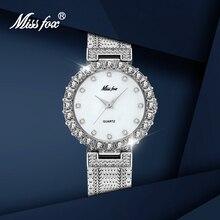 MISSFOX Women Watches With Diamond Silver Jewelry Luxury Ele