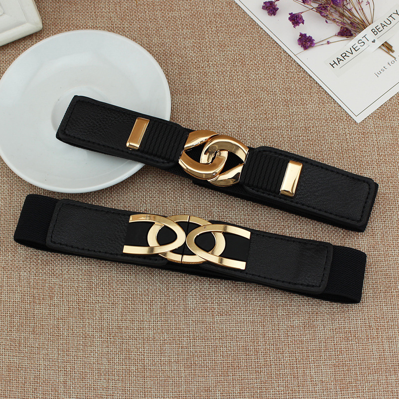 Luxury Fashion Belts For Women Alloy To Buckle Elastic Belts Narrow Dress Decorative Fashion Dress Waist Seal Black Cintos