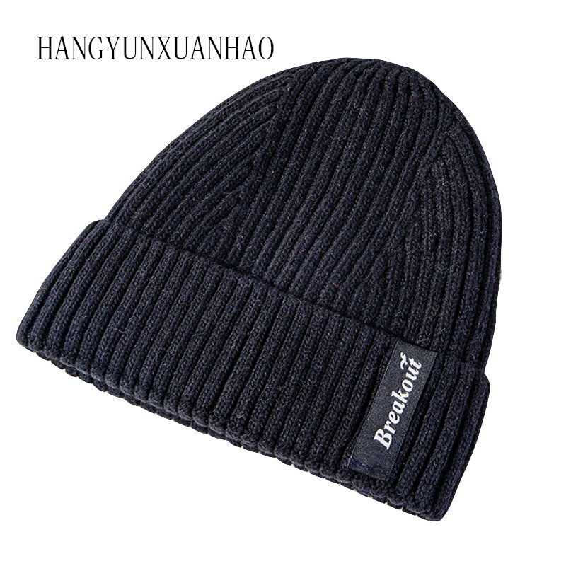 Knitted Wool Beanies Hat For Men Women Warm Velvet Knitted Winter Hat Unisex Skullies Beanies Cap Hip Hop Hat Bonnet 2019 New