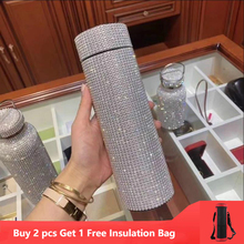 500ml Creative Diamond Thermos Bottle Water Bottle Stainless Steel Smart Temperature Display Vacuum Flask Mug Gift for Men Women cheap FGHGF CN(Origin) Vacuum Flasks Thermoses Eco-Friendly PORTABLE Lovers Straight Cup CE EU 6-12 hours Stainless steel coffee mug