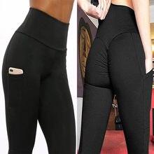 Há bolsos para usar fora das leggings femininas elástico cintura alta jogging volta ruched butt lift pants hip push up workout