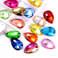 6 размеров красочные каплевидные кристаллы AB стеклянные пришивные стразы с отверстиями плоские красные стразы для шитья свадебного платья ...