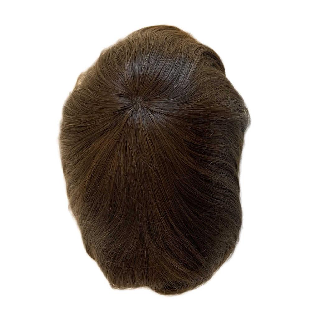 BYMC erkek peruğu İsviçre dantel ve PU saç değiştirme sistemleri el yapımı peruk doğal Remy 6 inç hint İnsan saç erkekler için