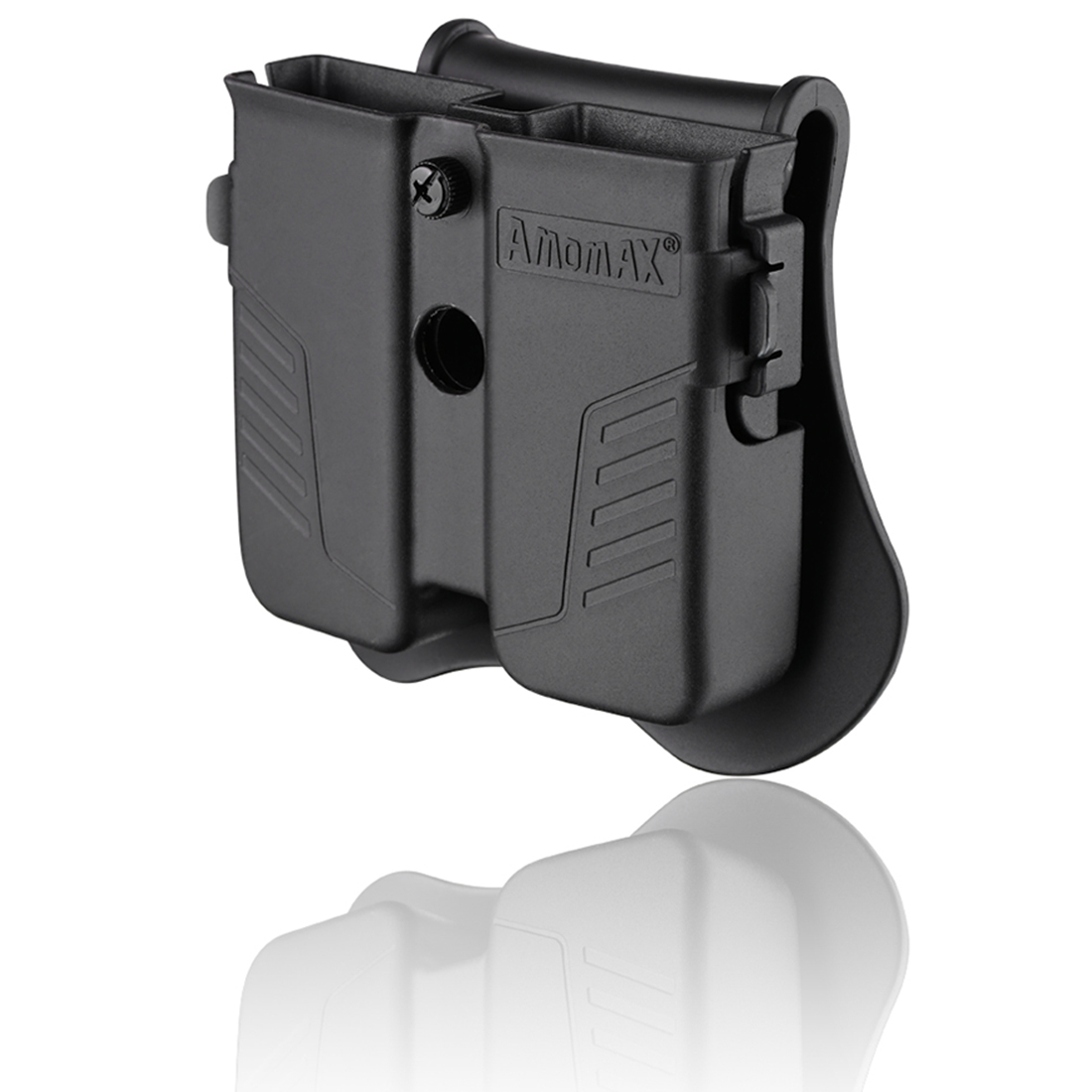 Amomax Tactical Double Magazine Pouch For Universal 9mm .40 .45 Caliber Single Double Stack Magazines - Black (only Waist Plate)