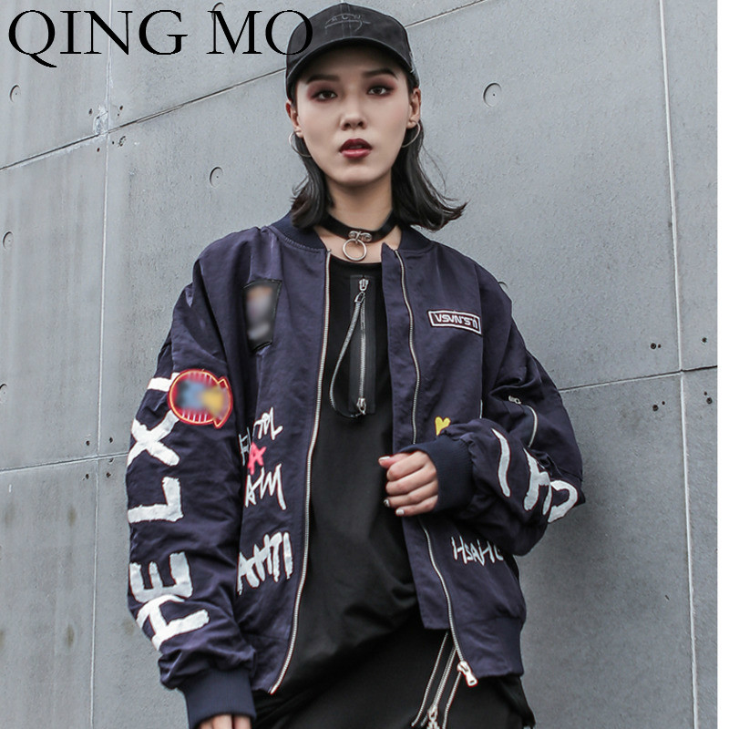 QING MO Women Blue Letter Print   Jacket   2019 Autumn Fashion Women Zipper Closure   Basic     Jacket   Oversize Coat ZQY1281