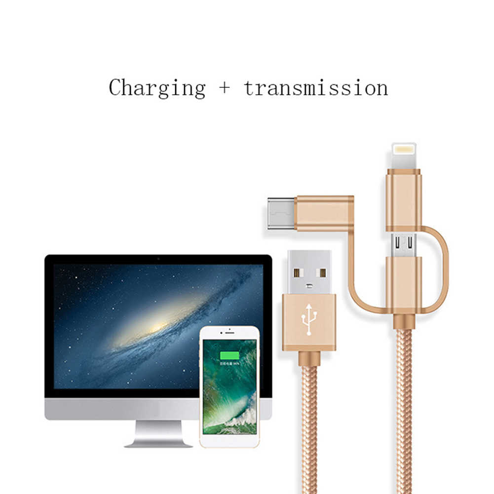 3-in-1 USB Cable for Micro USB Type C Mobile Phone Charger Cable for Xiaomi Mi 9 se Cc9 Mi Mix 3 One Plus 6 7 Pro Charging Cable