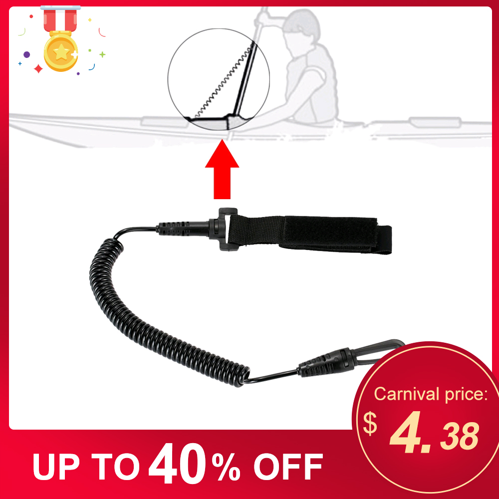 1pcs Coiled Paddle Leash Elastic Kayak Canoe Safety Rod Leash Flexible Kayak Accessories Stretch To 1.9M Boat Accessories