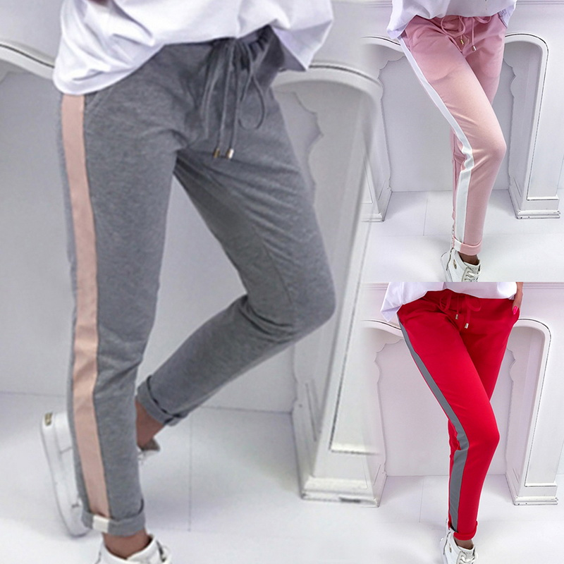 Fashion Casual Women Pencil Pants Fashion Side Striped Slim Long Female Trouser Trousers Skinny Trousers Femme