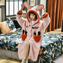 Nightgown Autumn Velvet Flannel Sleepdress Winter Cartoon Woman Warm Thick Cute Print