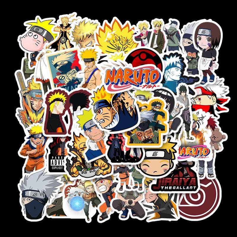 50pcs Naruto Naruto Sasuke Stickers Waterproof Removable Personality Luggage Notebook Stickers Cartoon Stickers