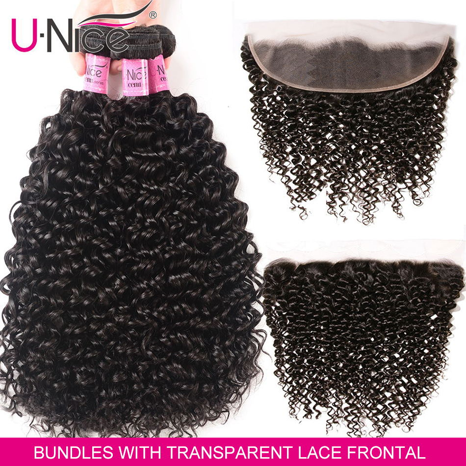 UNice Hair 13x4 Transparent Preplucked Ear To Ear Lace Frontal Closure With Bundles Remy Brazilian Curly Human Hair Bundles
