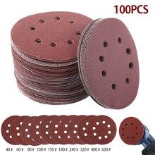100 adet 5 inç 125mm yuvarlak zımpara sekiz delikli Disk kum levhalar Grit 40 600 cırt cırt zımpara diski aşındırıcılar lehçe
