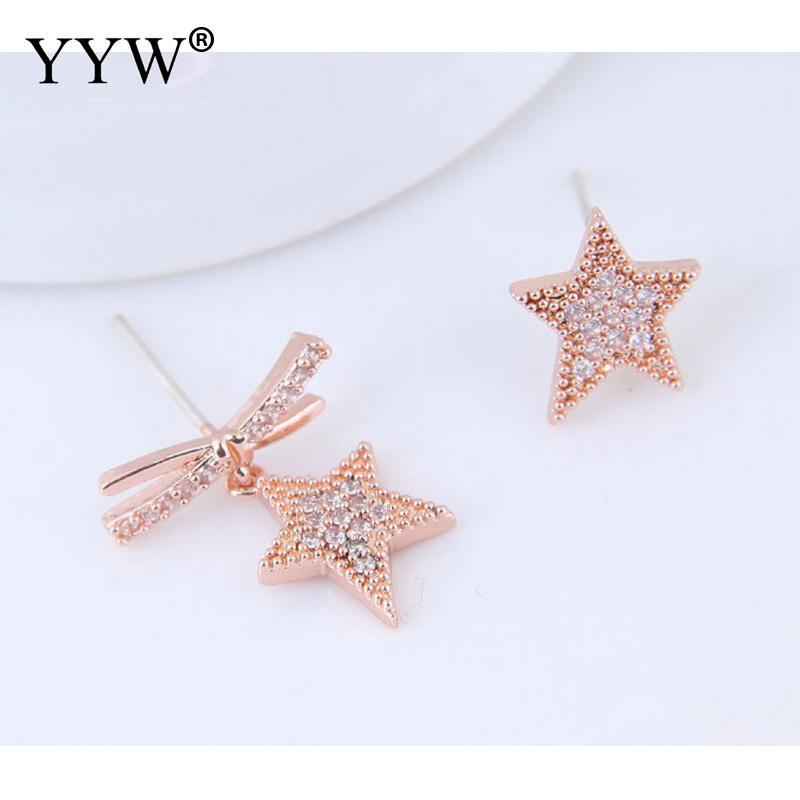 Fashionable Brass Asymmetric Stud Earring Cubic Zirconia Star Shape Earrings For Women Vintage