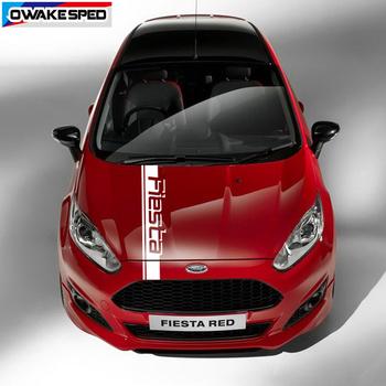 Sporty wyścigowe maska samochodu Bonnet paski naklejki dla Ford Fiesta ST RS Hatchback 2008-2020 3-5 drzwi Auto pokrywa silnika naklejki dekoracyjne tanie i dobre opinie OwakeSped Głowy CN (pochodzenie) Klej naklejki Words Kreatywne naklejki Nie pakowane TYX40J00026S Red blue silver white black gray