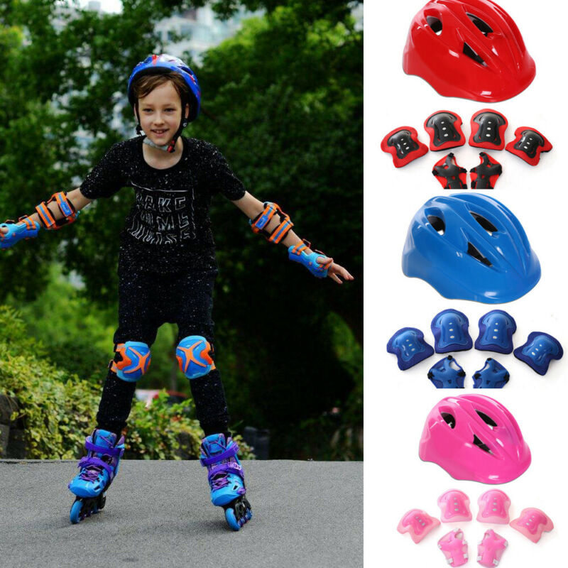 7Pcs//Set Elbow Wrist Knee Pads and Helmet For Kids Skate Cycling Bike Safety