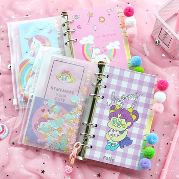 цена на Kawaii Binder Notebook Cute Unicorn Journal A6 Diary Grid Line Agenda 6 Rings Planner Organizer Spiral Note Book School Handbook