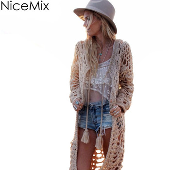 NiceMix 2020 Casual Cardigan Women Sweater Bohemia Long Cardigans Sexy Hollow Out Knitwear Tassel Long Sweaters Maglioni Donna gorgeous tassel hollow out choker
