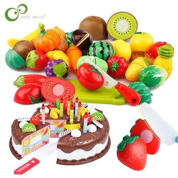 Juego de comida de juguete de plástico DIY para cortar tartas, frutas, verduras, alimentos, juguetes para juego de imitación para niños, regalo educativo GYH
