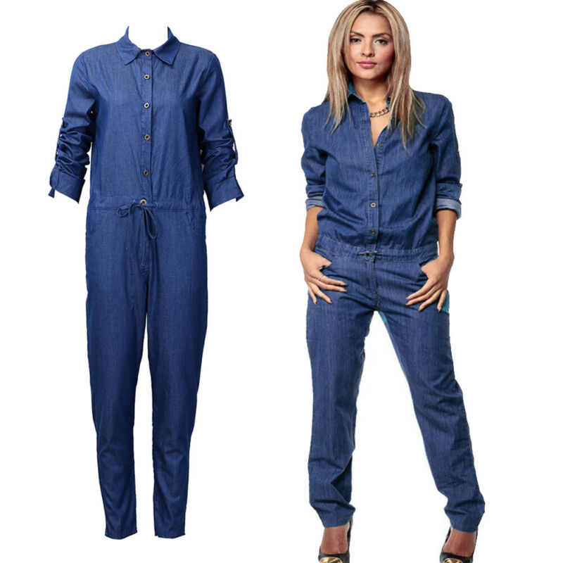 New Arrival Retro Women Summer Denim Clubwear Long Playsuit Bodycon Party Jumpsuit Romper Navy Blue Lady Causal Jumpsuits