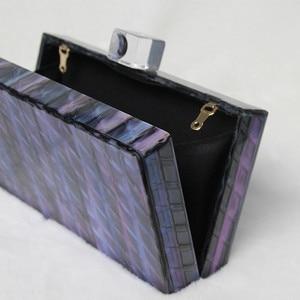Image 5 - 新ブランドファッション財布女性アクリルかわいいハンドバッグブルーストライプ女性のイブニングバッグ高級ウェディングバッグヴィンテージボックス財布クラッチ