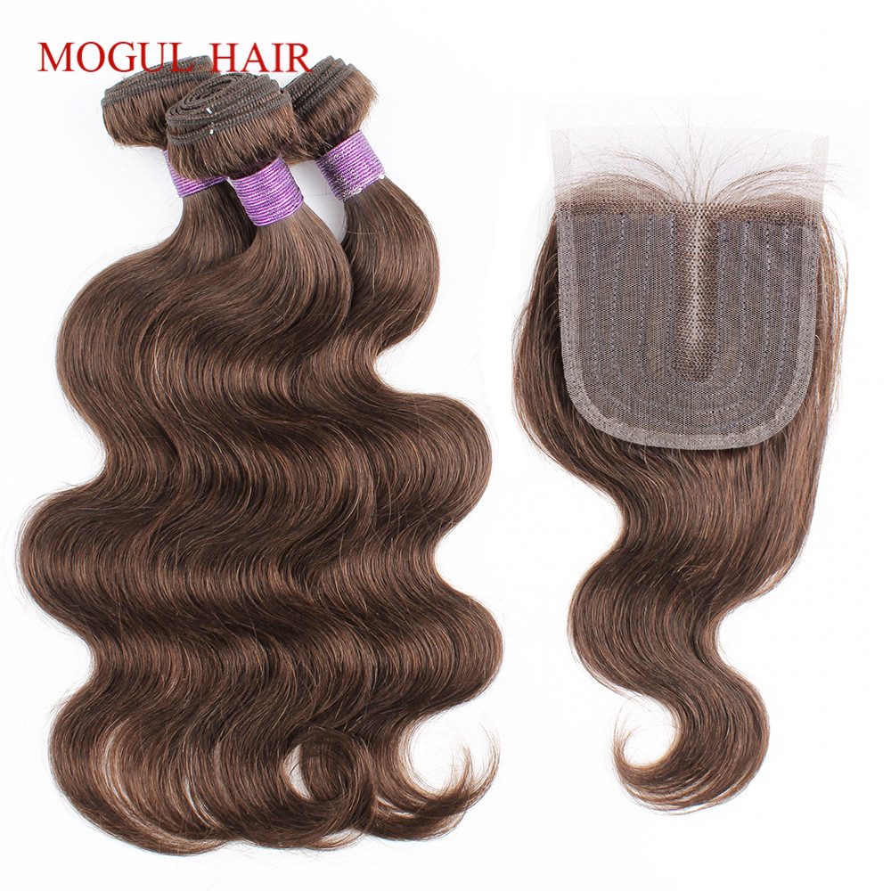 3 Bundles with Closure 200g/set Body Wave Hair Weave Black Brown Blonde Ombre 12-22 inch Remy Human Hair Extension MogulHair