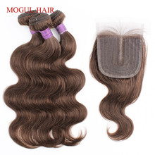 Weave Hair Closure Human-Hair-Extension Body-Wave 3-Bundles Blonde Brown Black Ombre