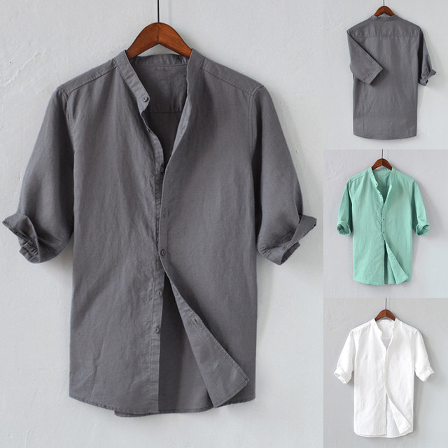 Men Shirts Mens White Shirt Linen Summer Men's Breathable Solid Color Button Cotton Shirt Five-point Sleeve Sleeve Camisa #40