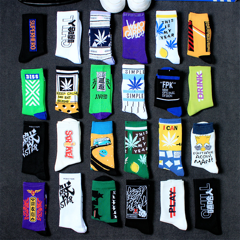 4 Pair Men's Stockings In Summer Street Ins Trend Hip Hop Stockings Gao Bang Chao Card Sports Basketball Socks