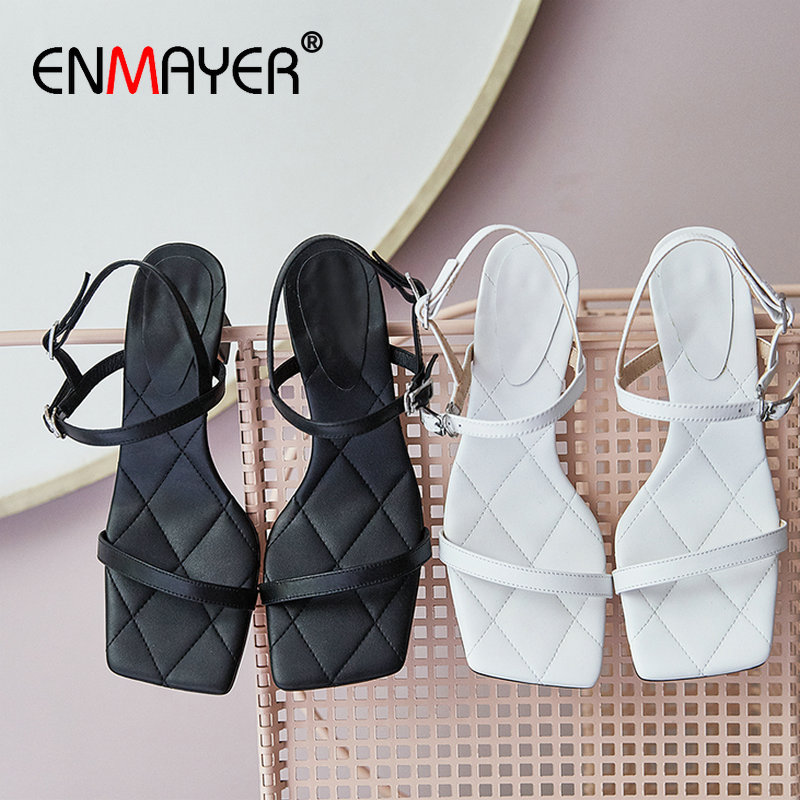 ENMAYER Mature Square Toe Women Sandals Casual Genuine Leather Buckle Strap Luxury Shoes Women Designers  Fashion Sandals 34-40