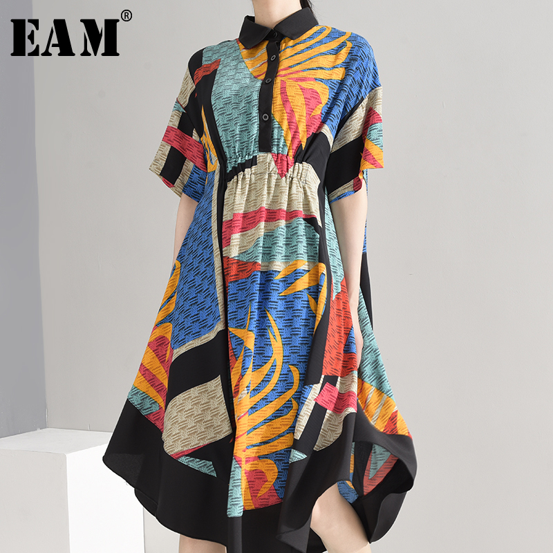 [EAM] Women Pattern Printed Irregular Shirt Dress New Lapel Short Sleeve Loose Fit Fashion Tide Spring Summer 2020 1W33905