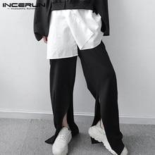 Loose Trousers Long-Pants Split-Hem Streetwear Korean-Style Elastic-Waist INCERUN Men
