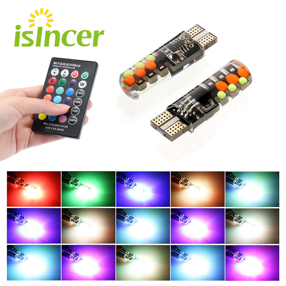 2020 Led W5W T10 RGB Clearance Light New Universal Car RGB COB 12SMDs Colorful Multi Mode Car Light Bulbs With Remote Controller