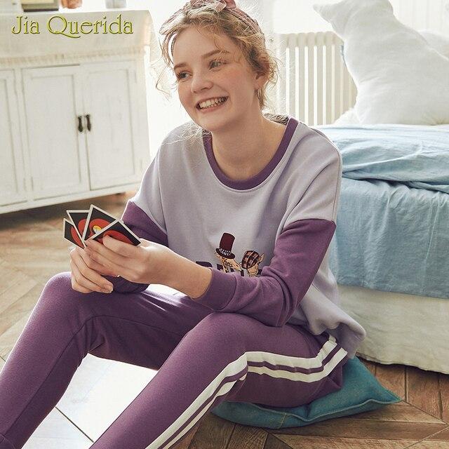 ฤดูใบไม้ผลิใหม่ชุดการ์ตูนพิมพ์พลัสขนาด Loungewear ผู้หญิงลูกเรือคอ Pijamas ผู้หญิง Homesuit Homeclothes Pjs ผู้หญิง PJ ชุด