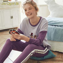 New Spring Pajama Set Cartoon Printing Plus Size Loungewear Women Crew Neck Pijamas Women Homesuit Homeclothes Pjs Women Pj Set