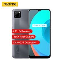 Realme c11 smartphone 2gb 32gb 6.5 mini mini-gota fullscreen helio g35 octa núcleo 5mp câmera frontal 5000mah 4g celular