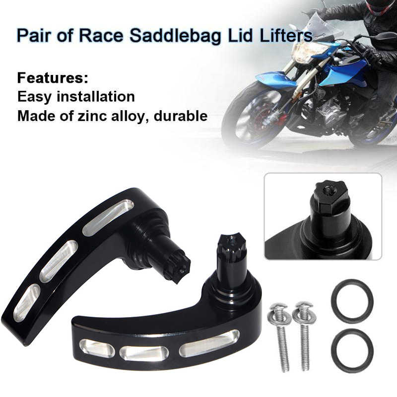 CNC Saddlebag Latch Covers Saddlebag Lid Lifters for Harley Touring Road King Street Glide FLHR FLHX 2014-2018