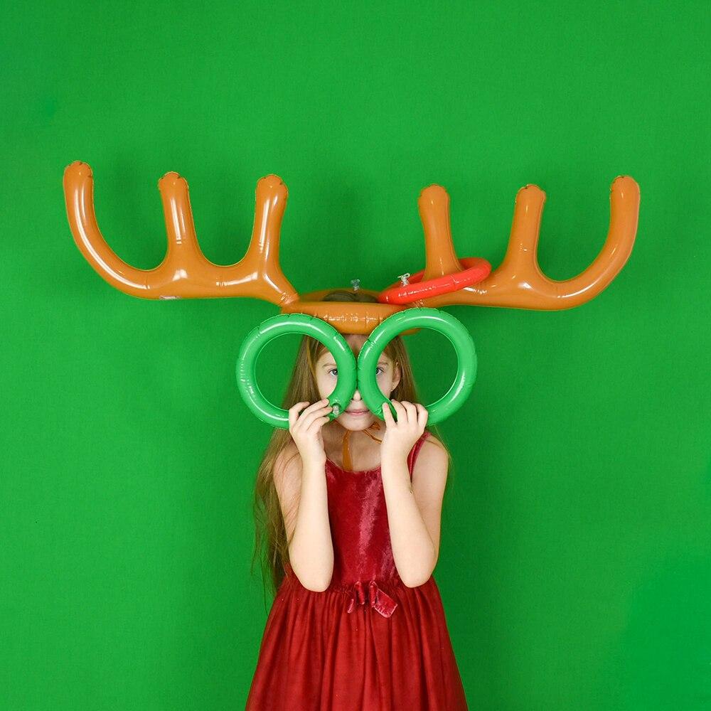 1 세트 pvc 풍선 뿔 모양 장난감 크리스마스 가족 신년 파티 재미 던져 반지 대화 형 게임 어린이 모자 반지 토스