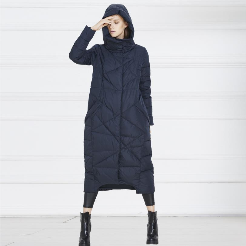 High-quality European And American Big Long Thicker Down Jacket Women Genuine Female Cold Winter Coat Big Yards Wholesale W846