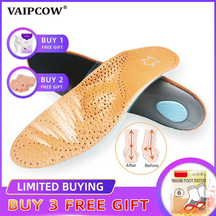 VAIPCOW High Quality Leather Orthotic Insole For Flat Feet Arch Support Orthopedic Shoes Sole Insoles For Men And Women
