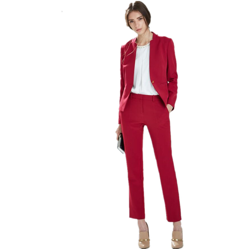 Custom Made Women Pant Suits   Bussiness Formal Elegant 2 Piece  Blazers  Office Suits Ladies Pants One Button (Jacket+Pants)