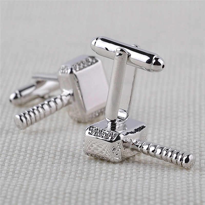 Alta qualidade dos homens camisa botão manguito super-herói thor mjolnir martelo manguito ligações liga de metal abotoaduras camisa do casamento botões de manguito
