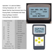 Micro 200 12V Car Battery Tester CCA 100-2000 Car Diagnostic Tool Automotive Battery System Analyzer USB Printing for Moto(China)